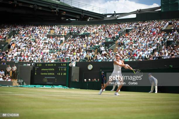 A general view of Johanna Konta of Great Britain in action against Caroline Garcia of France in the Ladies' Singles round of 16 on NO1 Court during...
