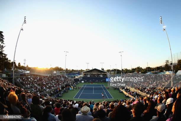 General view of Johanna Konta of Great Britain playing against Serena Williams of the United States during Day 2 of the Mubadala Silicon Valley...