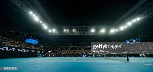 General view of John Cain Arena while Dominic Thiem of Austria serves in his Men's Singles third round match against Nick Kyrgios of Australia during...