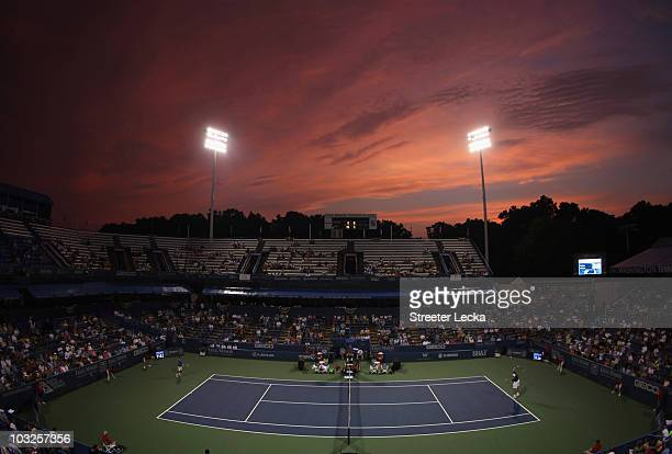 General view of John Isner of the USA against Xavier Malisse of Belgium during day 4 of the Legg Mason Tennis Classic at the William H.G. FitzGerald...
