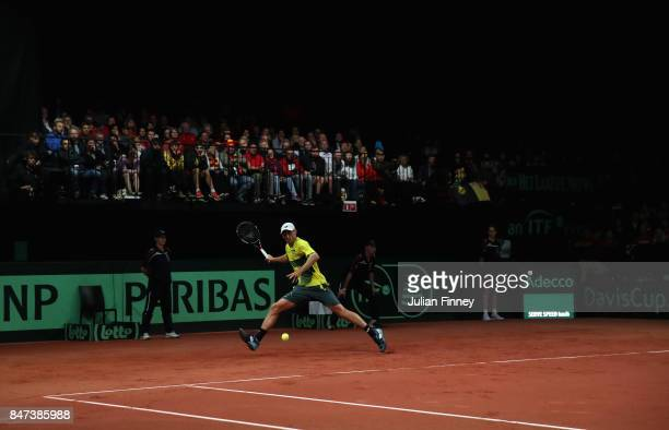 A general view of John Millman of Australia in action against David Goffin of Belgium during day one of the Davis Cup World Group semi final match...