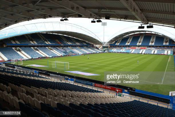 General view of John Smith's Stadium prior to the Sky Bet Championship match between Huddersfield Town and Swansea City at John Smith's Stadium on...