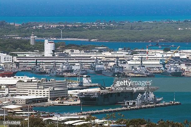 A general view of Joint Base Pearl HarborHickam on Friday June 29 2012 in Pearl Harbor Hawaii Twentytwo nations 42 ships six submarines more than 200...