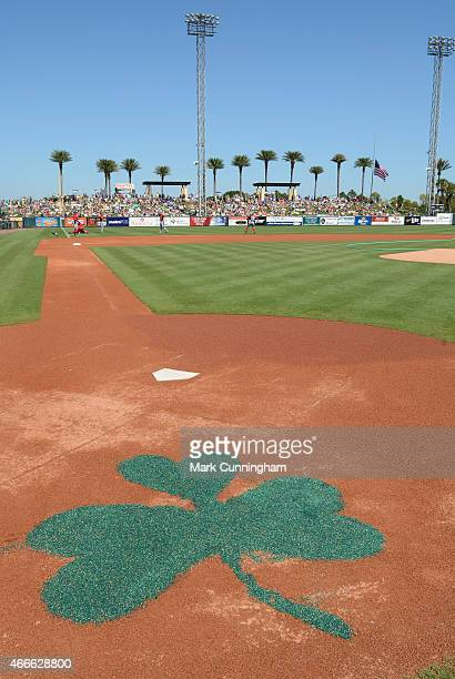 A general view of Joker Marchant Stadium field decorated to honor St Patricks Day prior to the start of the Spring Training game between the Detroit...