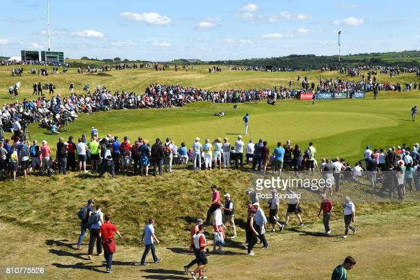 General View of Jon Rahm of Spain on the 16th green during day three of the Dubai Duty Free Irish Open at Portstewart Golf Club on July 8 2017 in...