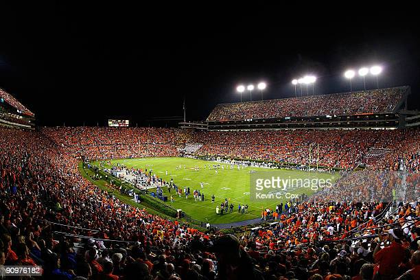 A general view of JordanHare Stadium during the game between the Auburn Tigers and the West Virginia Mountaineers on September 19 2009 in Auburn...