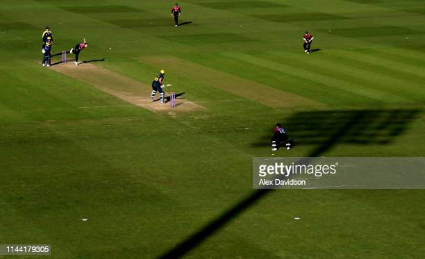 General view of Josh Davey of Somerset bowling during the Royal London One Day Cup match between Glamorgan and Somerset at Sophia Gardens on April...