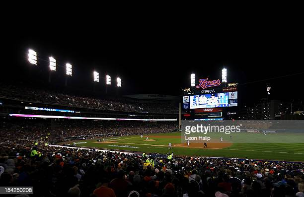 A general view of Justin Verlander of the Detroit Tigers throwing a pitch against the New York Yankees during game three of the American League...