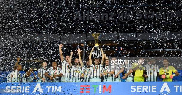 General view of Juventus FC players holding the trophy after winning the Serie A Championship 20192020 on ceremony during the Serie A match between...