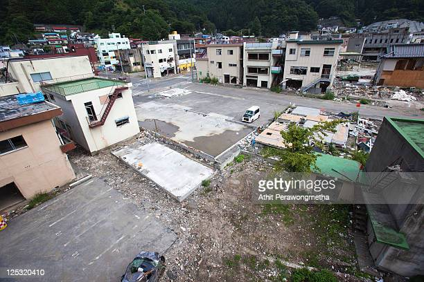 A general view of Kamaishi prior to the sixth month anniversary of the March 11 earthquake and massive tsunami on September 10 2011 in Kamaishi Iwate...