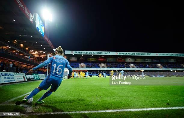 General view of Kasper Fisker of Randers FC taking a corner kick during the Danish Alka Superliga match between Randers FC and AC Horsens at...