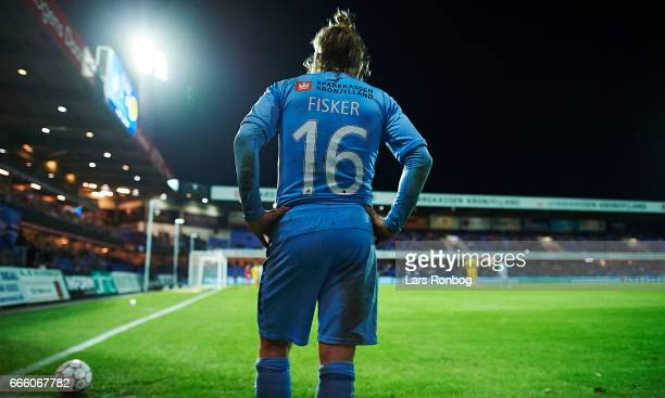 General view of Kasper Fisker of Randers FC waiting to take a corner kick during the Danish Alka Superliga match between Randers FC and AC Horsens at...