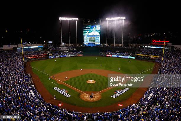 A general view of Kauffman Stadium as Edinson Volquez of the Kansas City Royals throws the first pitch against the New York Mets in the first inning...