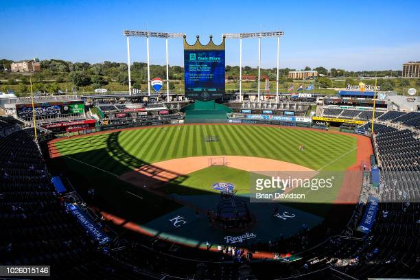 A general view of Kauffman Stadium before the game between the Baltimore Orioles and the Kansas City Royals on September 1 2018 in Kansas City...