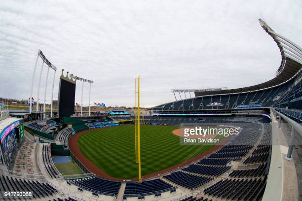 A general view of Kauffman Stadium on Easter April 1 2018 in Kansas City Missouri The scheduled game between the Chicago White Sox and the Kansas...