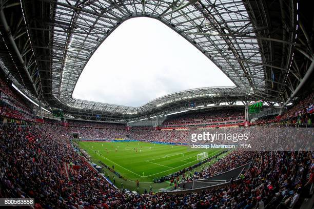 A general view of Kazan Stadium during the FIFA Confederations Cup Russia 2017 group A football match between Mexico and Russia at Kazan Arena on...