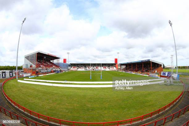 General view of KCOM Craven Park ahead of kick-off during the BetFred Super League match between Hull KR and Leeds Rhinos at KCOM Craven Park on...