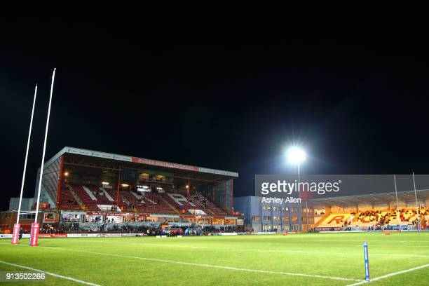 General view of KCOM Craven Park during the BetFred Super League match between Hull KR and Wakefield Trinity at KCOM Craven Park on February 2, 2018...
