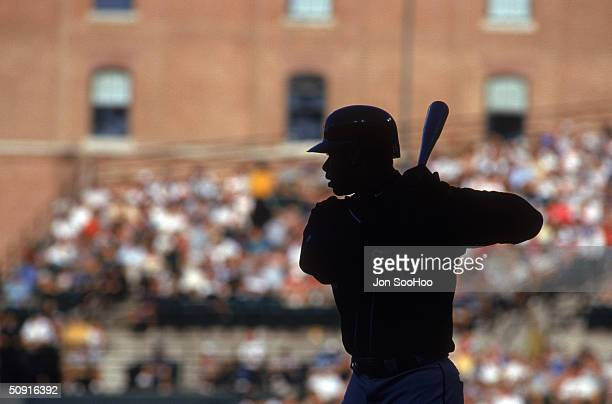 General view of Ken Griffey Jr #24 of the Seattle Mariners as he stands ready at the plate during a game circa 1989 1999 Oriole Park at Camden Yards...
