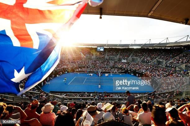 A general view of Ken Rosewall Arena as Alex de Minaur of Australia competes in his Men's Singles Final match against Daniil Medvedev of Russia...