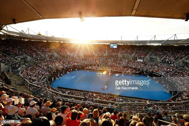 A general view of Ken Rosewall Arena as Alex de Minaur of Australia competes in his Men's Singles Final match against Daniil Medvedev of Russia...