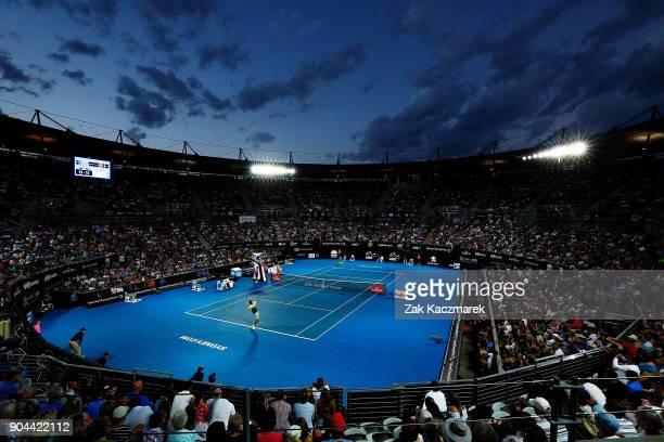 A general view of Ken Rosewall Arena as Daniil Medvedev of Russia serves during his Men's Singles Final match against Alex de Minaur of Australia...