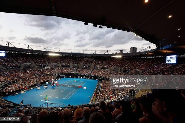 A general view of Ken Rosewall Arena as Daniil Medvedev of Russia competes in his Men's Singles Final match against Alex de Minaur of Australia...