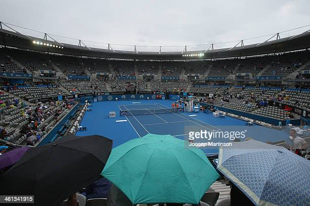 General view of Ken Rosewall arena during a rain delay during day four of the 2014 Sydney International at Sydney Olympic Park Tennis Centre on...