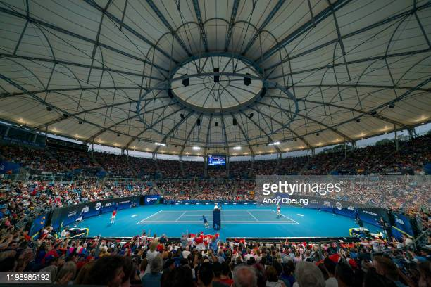 A general view of Ken Rosewall Arena during the final singles match between Roberto Bautista Agut of Spain and Dusan Lajovic of Serbia during day 10...