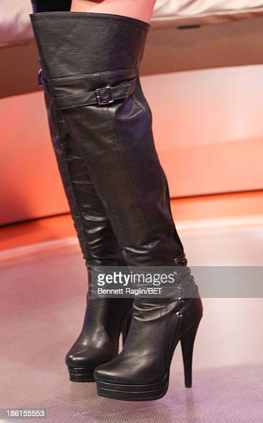 A general view of Keshia Chante's boots during 106 Park at 106 Park studio on October 28 2013 in New York City