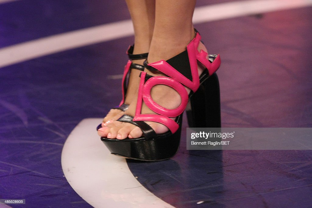 A general view of Keshia Chante's shoes during 106 & Park at BET studio on April 16, 2014 in New York City.