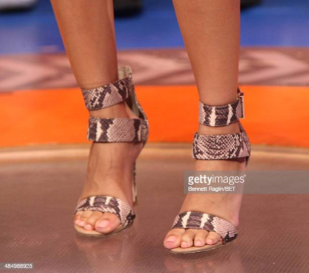 A general view of Keshia Chante's shoes during 106 Park at BET studio April 14 2014 in New York City