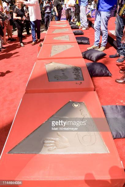 A general view of Kevin Feige's Chris Hemsworth's Chris Evans' Robert Downey Jr's Scarlett Johansson's Mark Ruffalo's and Jeremy Renner's handprints...