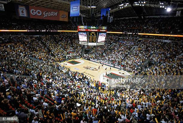 A general view of Key Arena as the Seattle Storm play against the Connecticut Sun in Game three of the WNBA Finals on October 12 2004 in Seattle...