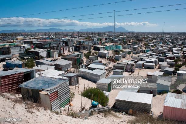 General view of Khayelitsha, near Cape Town, on March 31, 2020 in Cape Town. - Local government administrators in Cape Town said on March 29 a...