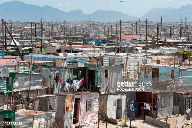 General view of Khayelitsha, near Cape Town, on March 31, 2020. - Local government administrators in Cape Town said on March 29 a COVID-19...