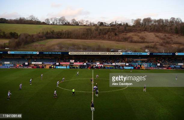 A general view of Kickoff during the Barclays FA Women's Super League match between Reading and Tottenham Hotspur at Adams Park on December 15 2019...