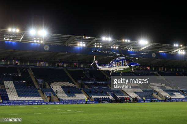 A general view of King Power Stadium as the helicopter owned by Leicester City Chairman/owner Vichai Srivaddhanaprabha lands on the pitch during the...