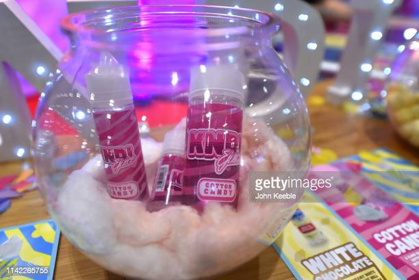 A general view of KNDI Juice Cotton Candy flavour Eliquid on display during Vape Jam UK 2019 at ExCel on April 12 2019 in London England Vape Jam UK...