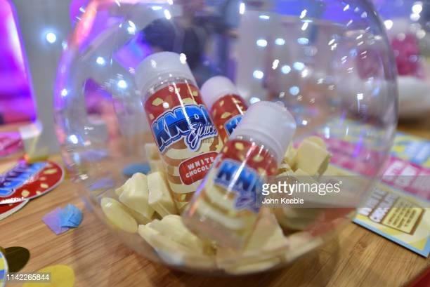 A general view of KNDI Juice Cotton White Chocolate Eliquid on display during Vape Jam UK 2019 at ExCel on April 12 2019 in London England Vape Jam...