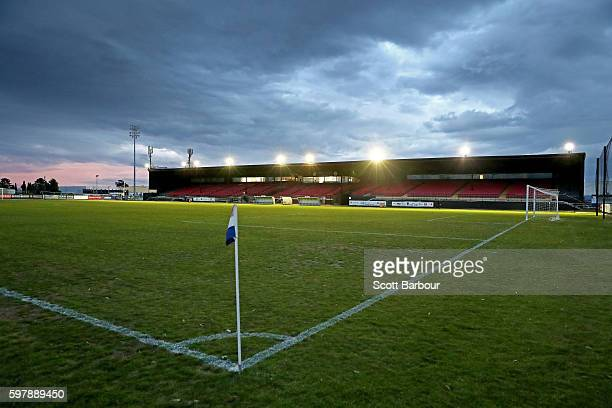 A general view of Knights Stadium before the FFA Cup Round of 16 match between the Melbourne Knights and Green Gully at Knights Stadium on August 30...