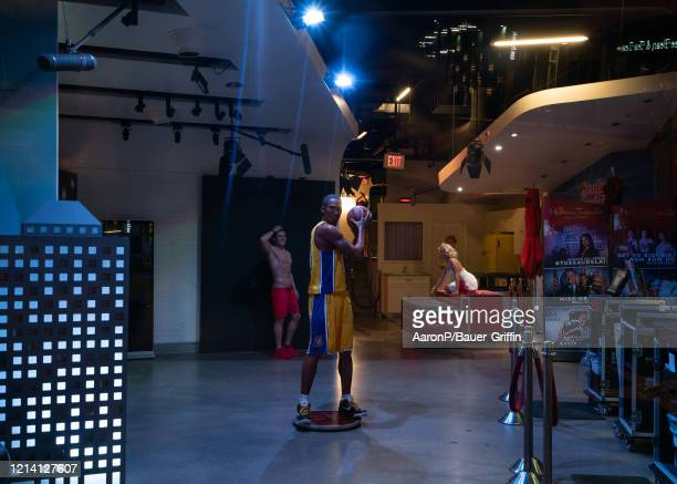 General view of Kobe Bryant, Zac Efron, and Marilyn Monroe wax figures inside Madame Tussauds wax museum on March 21, 2020 in Los Angeles,...