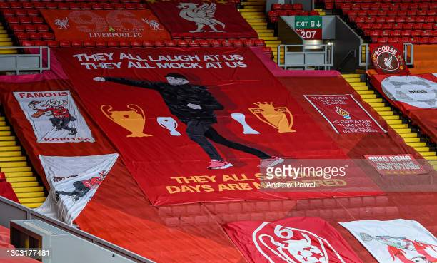 General view of Kop Stand with new Jurgen Klopp banner displayed before the Premier League match between Liverpool and Everton at Anfield on February...
