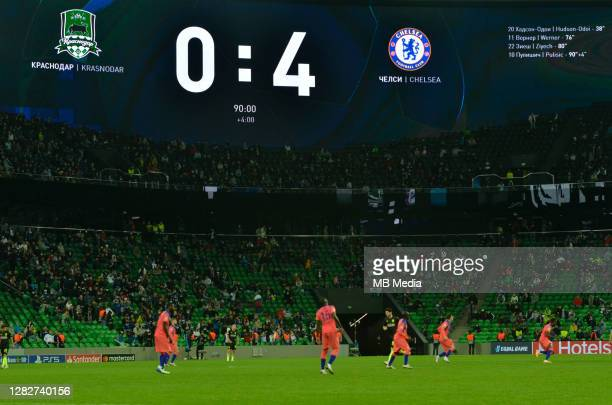 General view of Krasnodar Stadium during the UEFA Champions League Group E stage match between FC Krasnodar and Chelsea FC at Krasnodar Stadium on...