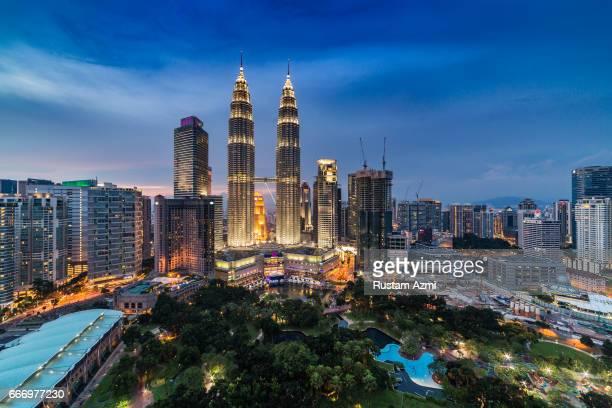 A General View of Kuala Lumpur Petronas tower at Sunset on September 16 2016 in Kuala Lumpur Malaysia