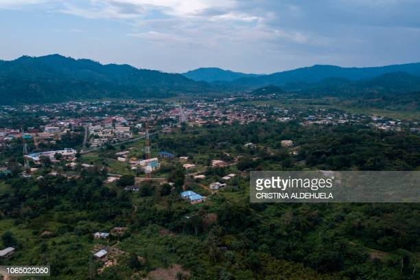 General view of Kyebi and the Kyebi Forest Reserve on November 5, 2018. - Environmental campaigners want Ghana's President Nana Akufo-Addo and his...