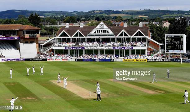 General view of Kyle Abbott appealing unsuccessfully for the wicket of Tom Abell during Day Three of the Specsavers County Championship Division One...