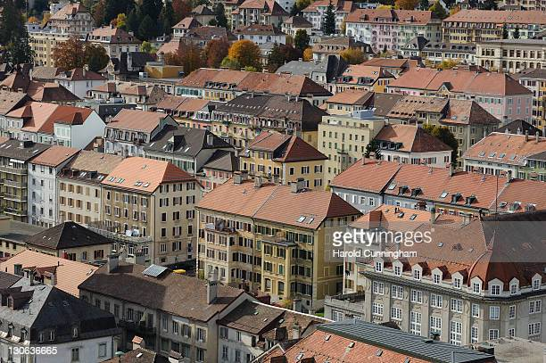 A general view of La ChauxdeFonds on October 27 2011 in La ChauxdeFonds Switzerland Located in the Jura mountains the city is based on a gridlike...