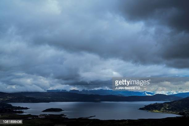 General view of La Cocha lake in the municipality of Pasto Colombia on January 4 2019 La Cocha also called Lake Guamez is on the eastern side of the...