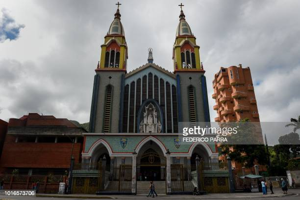 General view of La Coromoto Church in Caracas on August 12 2018 The shortage of cash in the country has forced churches to accept 'plastic money' for...